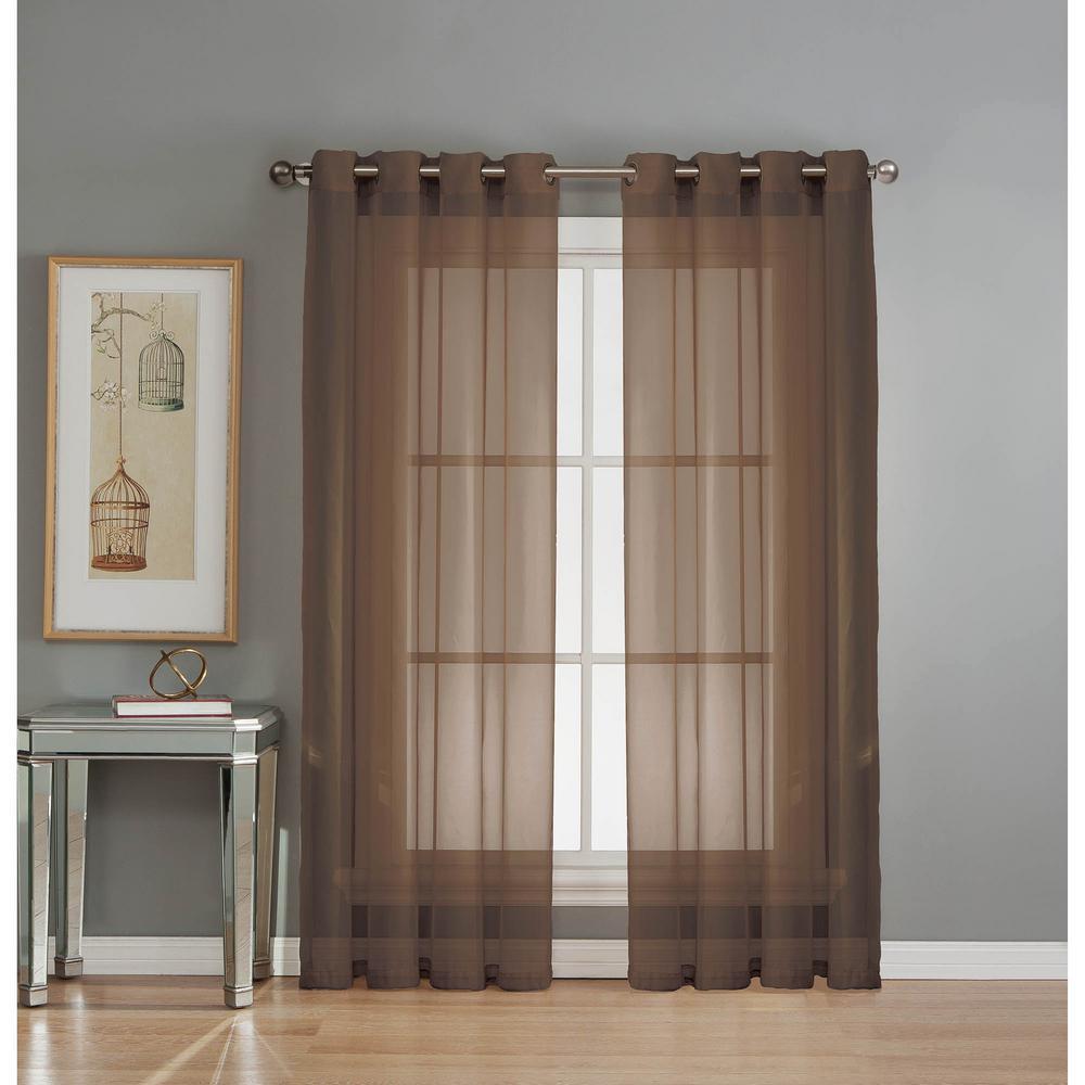 Sheer Sheer Elegance 84 in. L Grommet Curtain Panel Pair, Chocolate (Set of 2)