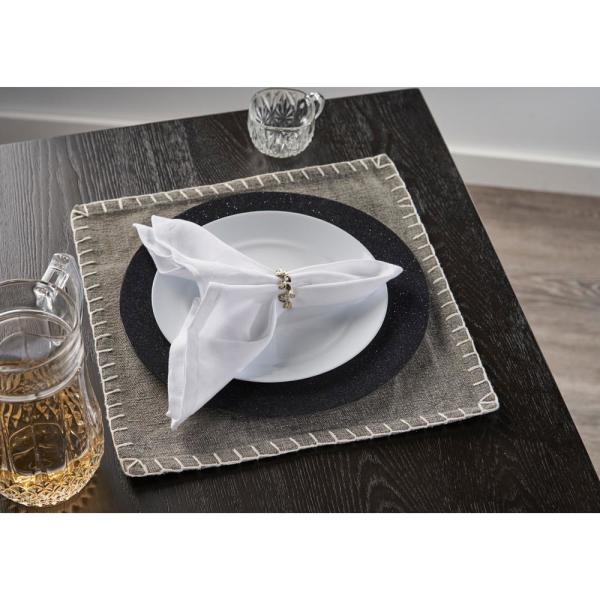Lr Home Neutral 15 In X 15 In Gray Embroidered Edge Square Cotton Placemat Set Of 4 Speci04704dgy15sq The Home Depot