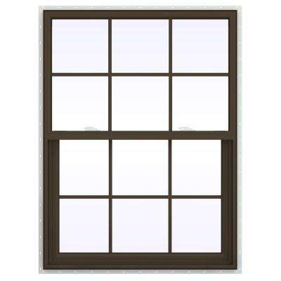 35.5 in. x 53.5 in. V-2500 Series Brown Painted Vinyl Single Hung Window with Colonial Grids/Grilles