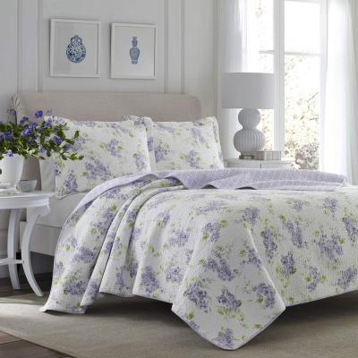 Keighley 3-Piece Purple Cotton King Quilt Set