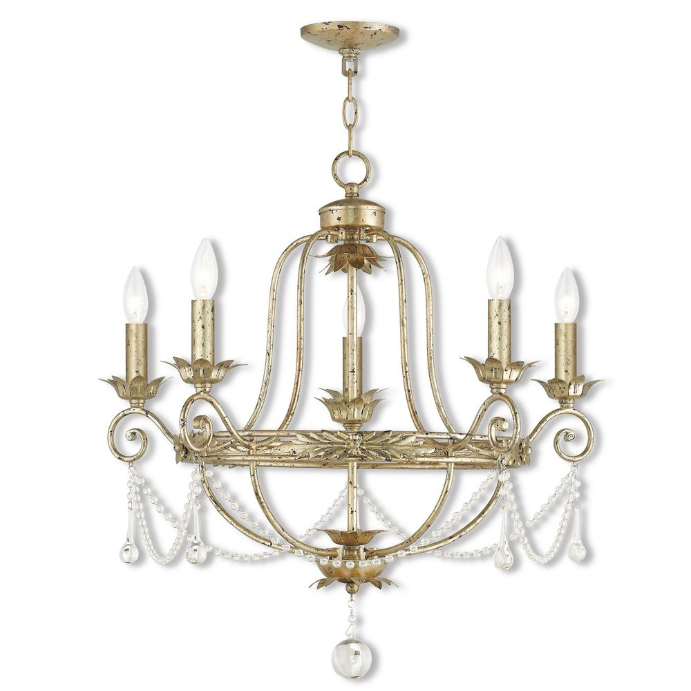 Livex Lighting Sophia 5-Light Hand Applied Winter Gold Chandelier
