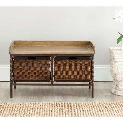 Noah Antique Pewter Storage  Bench