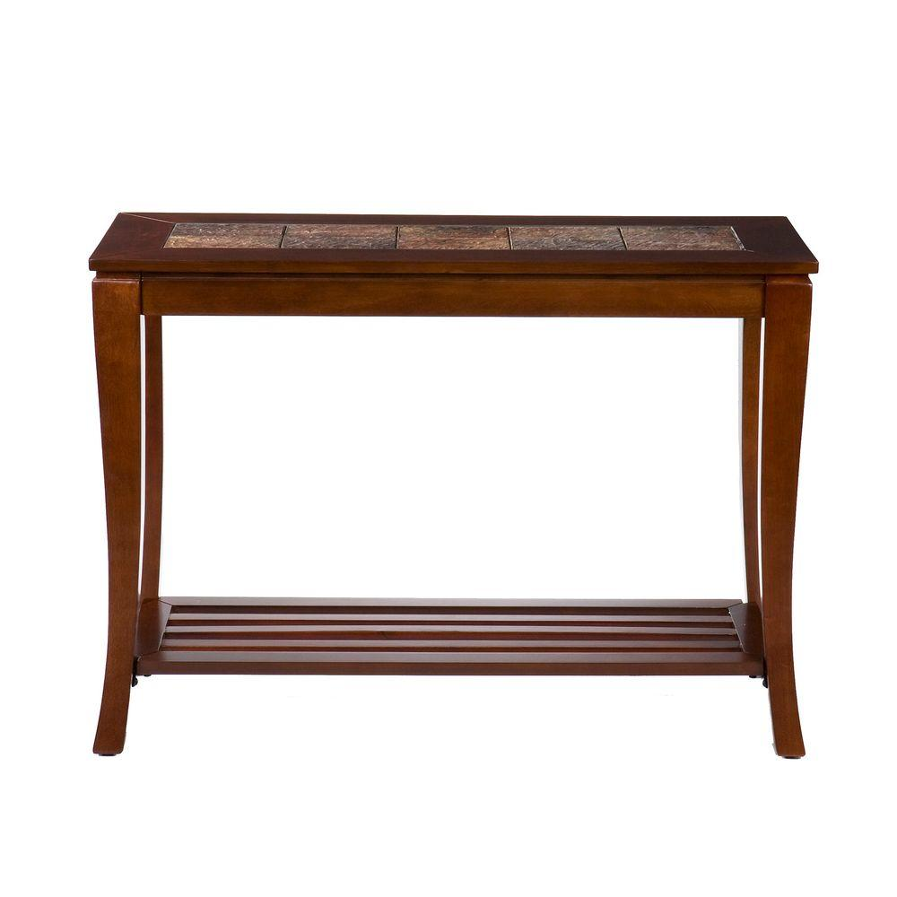 Home Decorators Collection Cambria Brown Cherry Slate Console Table-DISCONTINUED