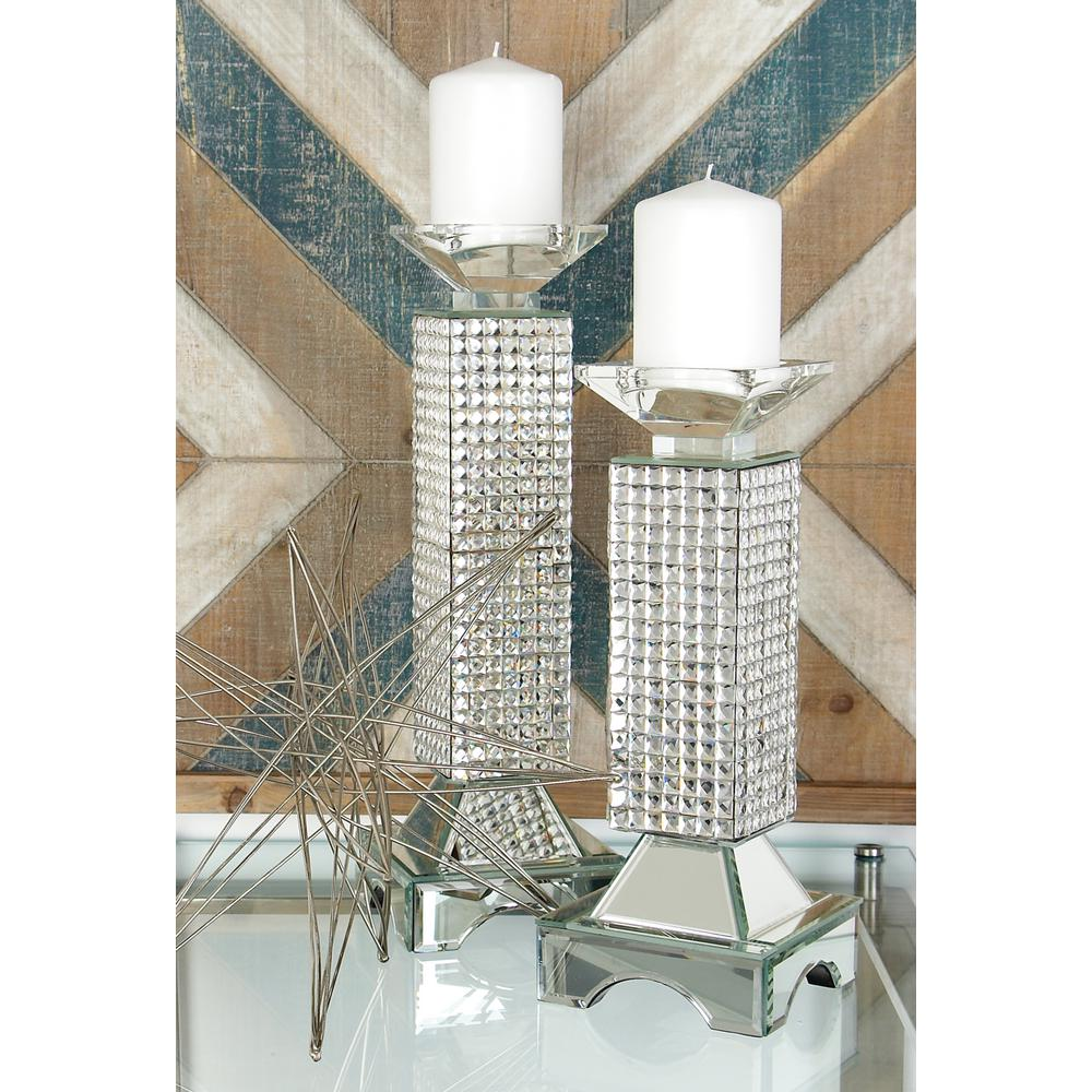 16 in. Clear Glass and Mirror Tiled Pillar Candle Holder
