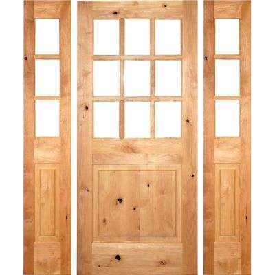 64 in. x 80 in. Rustic Knotty Alder Clear 9-Lite clear stain Wood Right Hand Inswing Single Prehung Front Door/Sidelites