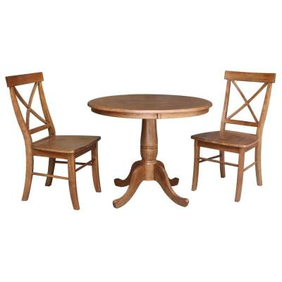 3-Piece 36 in. Bourbon Oak Round Dining Table and 2-X-Back Side Chairs
