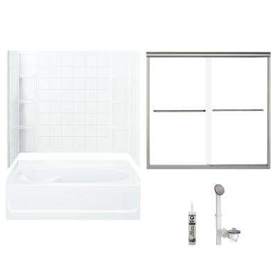 Ensemble 36 in. x 60 in. x 70.25 in. Bath and Shower Kit with Right-Hand Drain in White and Brushed Nickel