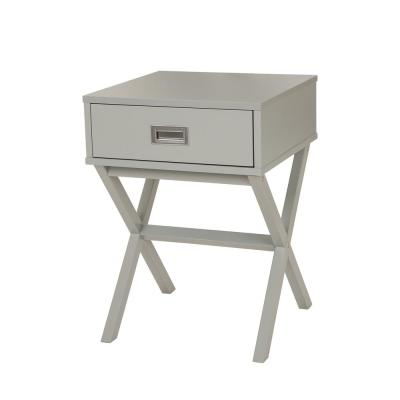 Gray Wooden X-Leg End Table with 1-Drawer