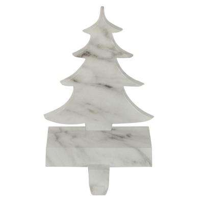 8 in. Black and White Marbled Tree Christmas Stocking Holder