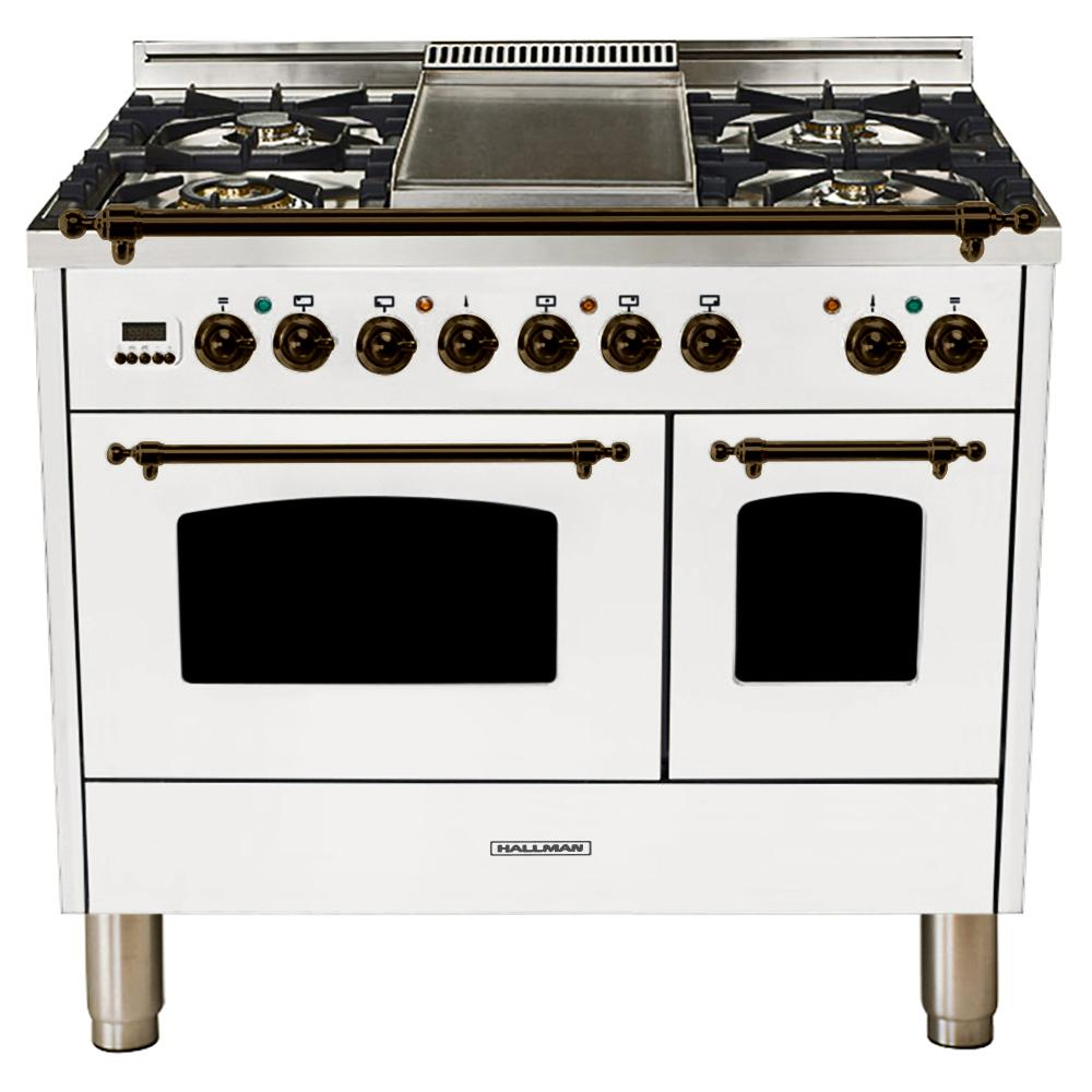 Hallman 40 in. 4.0 cu. ft. Double Oven Dual Fuel Italian Range with True Convection, 5 Burners, Griddle, Bronze Trim in White