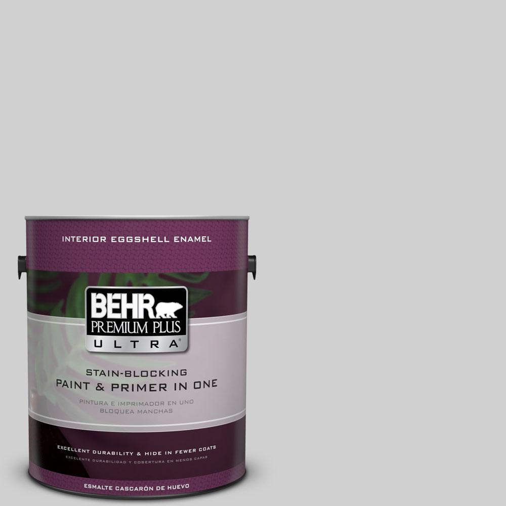 BEHR Premium Plus Ultra 1 gal. #N520-1 White Metal Eggshell Enamel Interior Paint and Primer in One
