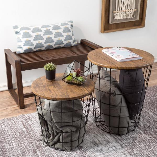 Lavish Home Black Brown 2 Piece Nesting Veneer Metal And Wood Round Accent Table Set Hw0200080 The Home Depot