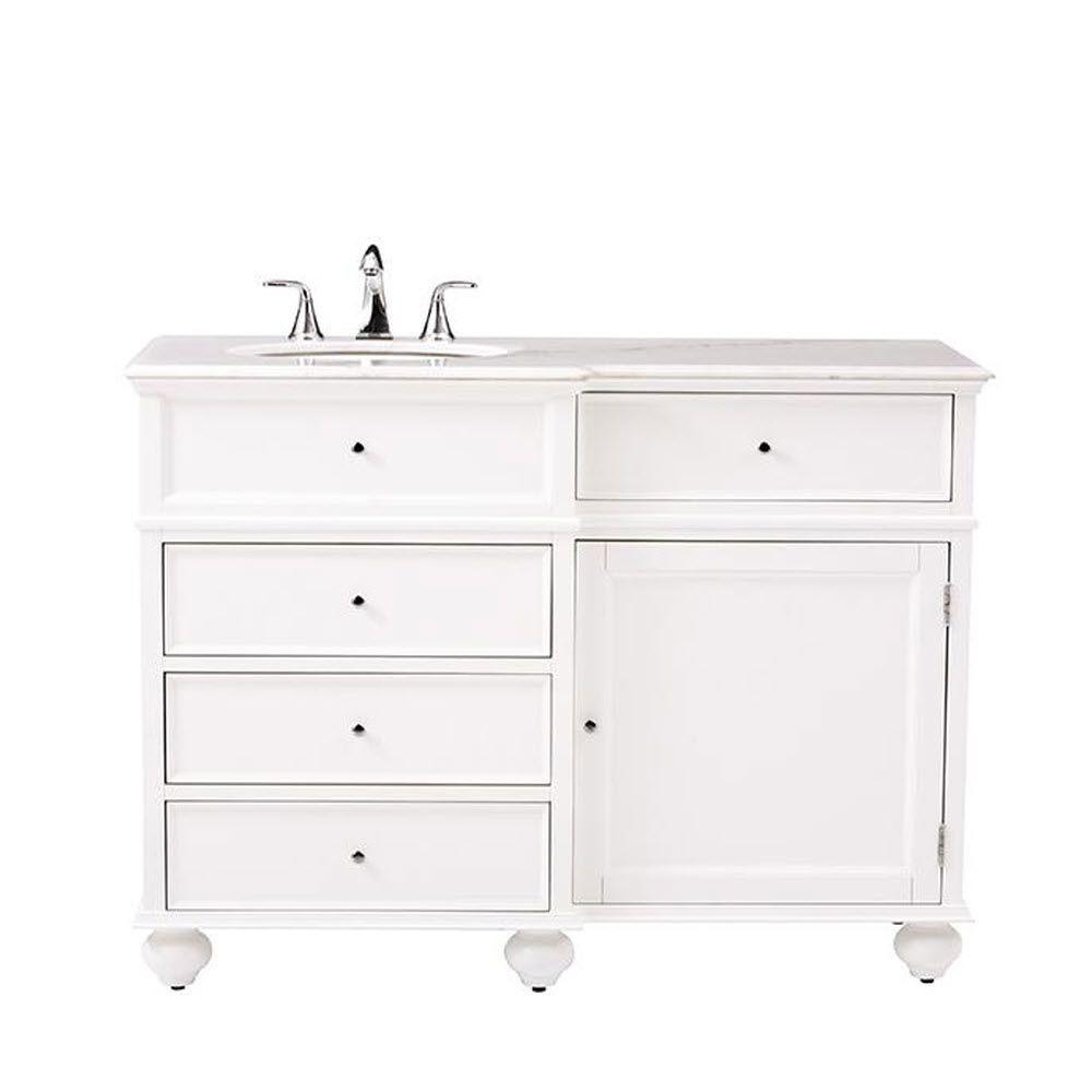 WYNDENHALL Windham Grey 36-inch Offset Bath Vanity with White Quartz Marble  Top - Free Shipping Today - Overstock.com - 20608242