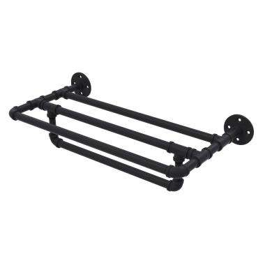 Pipeline Collection 24 in. Wall Mounted Towel Shelf with Towel Bar in Matte Black
