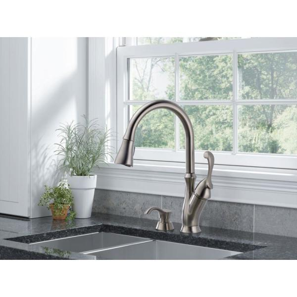 Delta Arabella Single Handle Pull Down Sprayer Kitchen Faucet With Soap Dispenser In Stainless 19950 Sssd Dst The Home Depot
