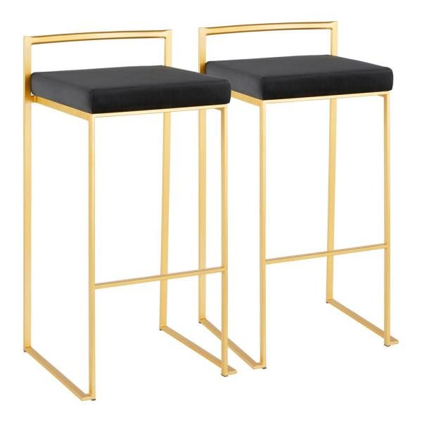 Lumisource Fuji 30 in. Gold Stackable Bar Stool with Black Velvet