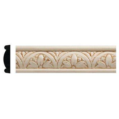 5/16 in. x 1-1/4 in. x 96 in. White Hardwood Embossed Floral Moulding