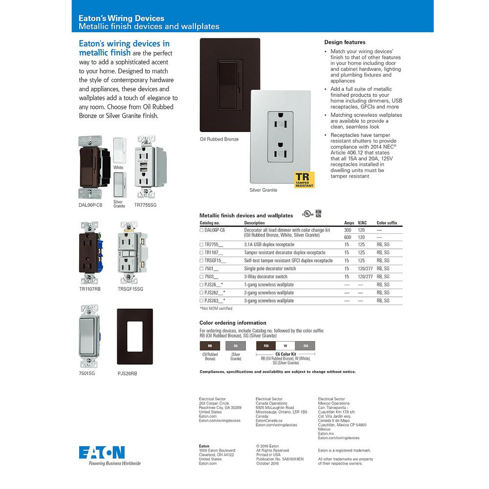EATON Wiring 1107BK-SP-L Receptacles One Size Black