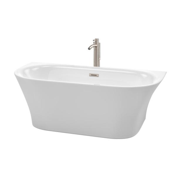 Cybill 67 in. Acrylic Flatbottom Bathtub in White with Brushed Nickel Trim and Tub Filler