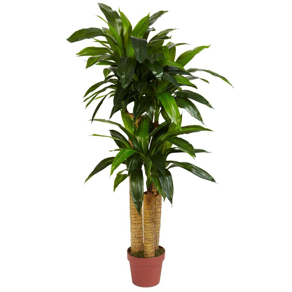 Real Touch 4 ft. Green Corn Stalk Dracaena Silk Plant