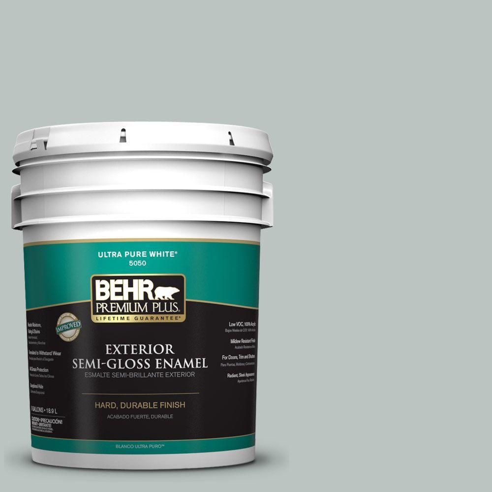 BEHR Premium Plus 5-gal. #ICC-47 Pewter Tray Semi-Gloss Enamel Exterior Paint
