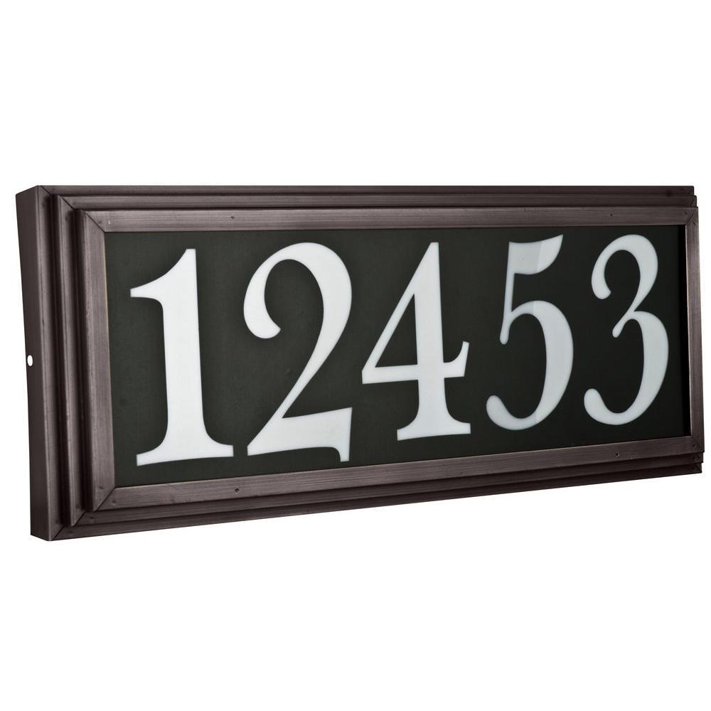 Brown Vinyl with Bronze Frame Large Stepped Address Light