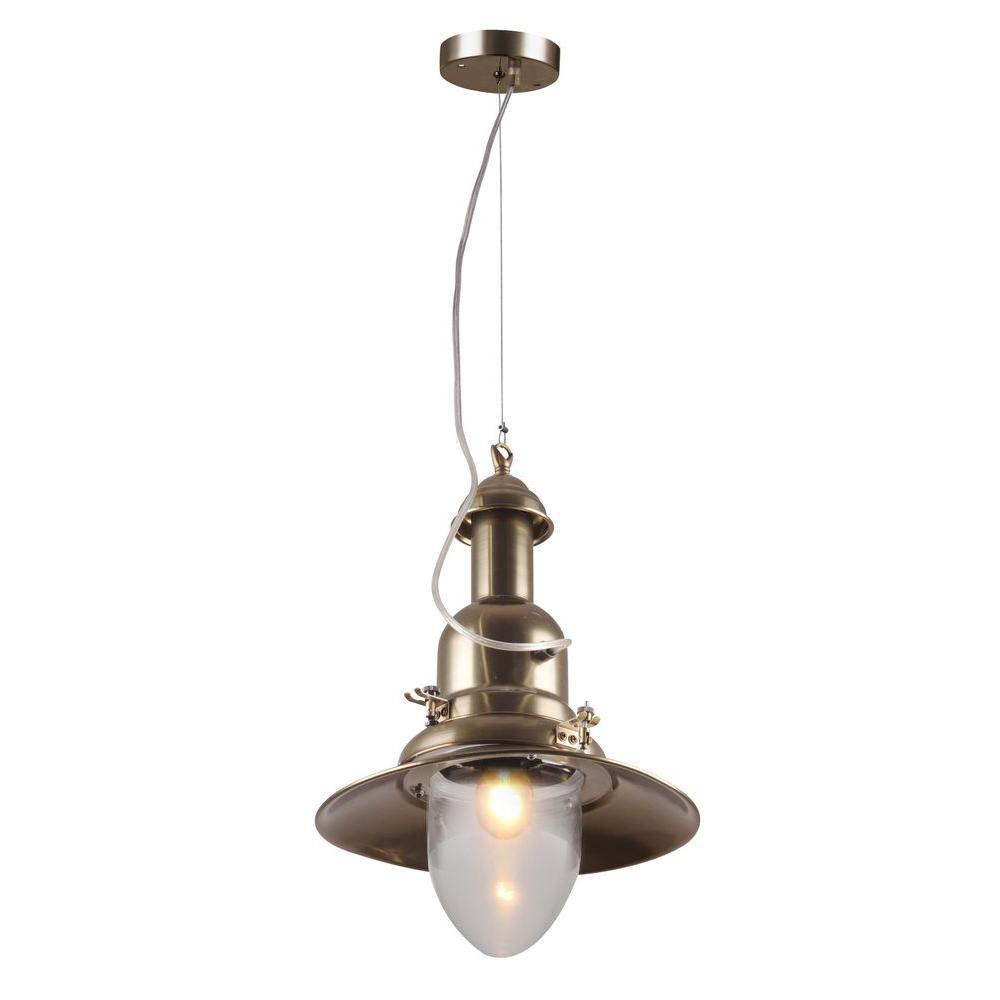 Industrial 1-Light Antique Brass Pendant Lamp