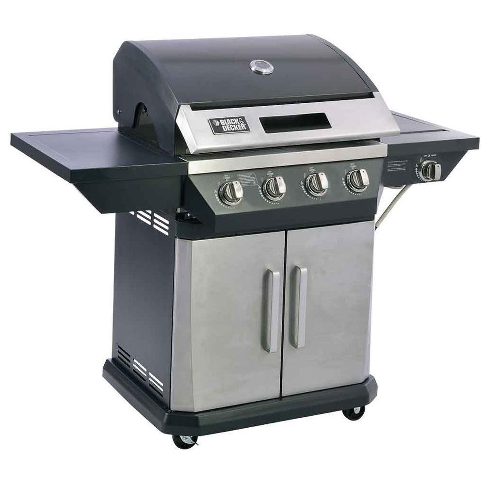 BLACK+DECKER 4-Burner Propane Gas Grill with Side Burner