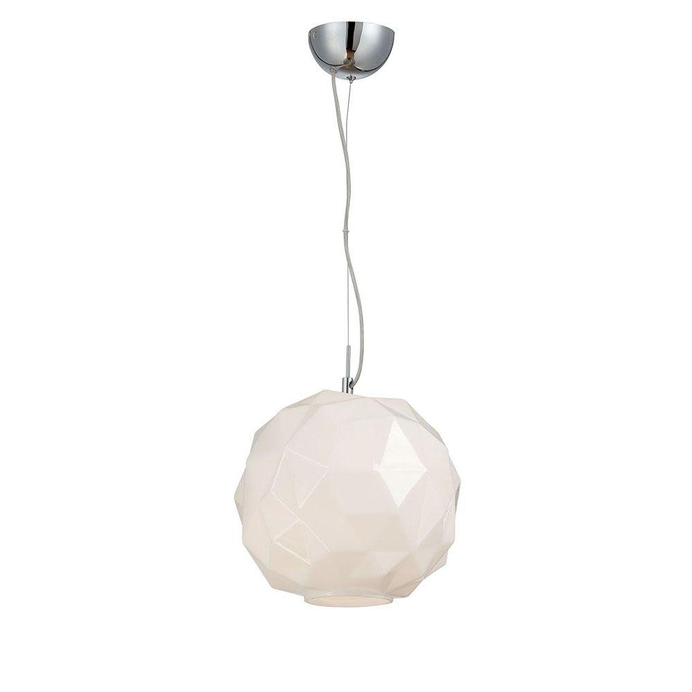 Studio Collection 1-Light Chrome and Opal White Pendant