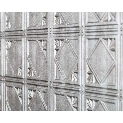 Artnouvo 18.5 in. x 24.3 in. PVC Backsplash Panel in Crosshatch Silver