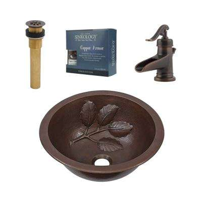 Pfister All-In-One Newton Bathroom Sink Design Kit in Aged Copper with Centerset Rustic Bronze Faucet