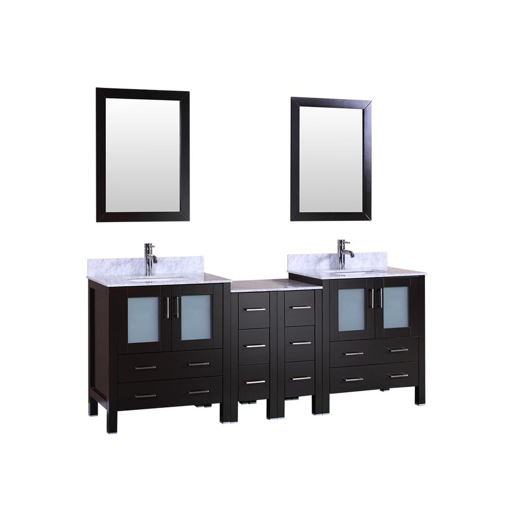 84 in. W Double Bath Vanity with Carrara Marble Vanity Top