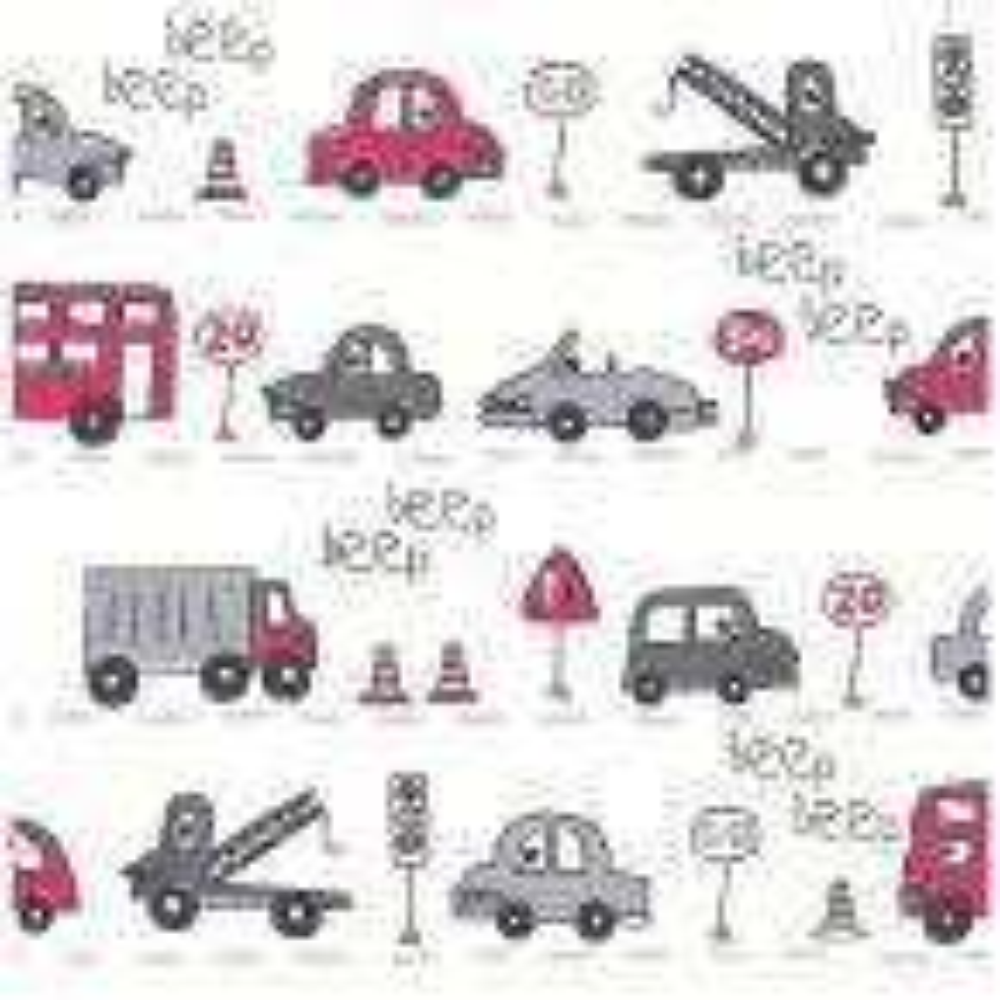 Brewster Grey Beep Beep Cars Wallpaper