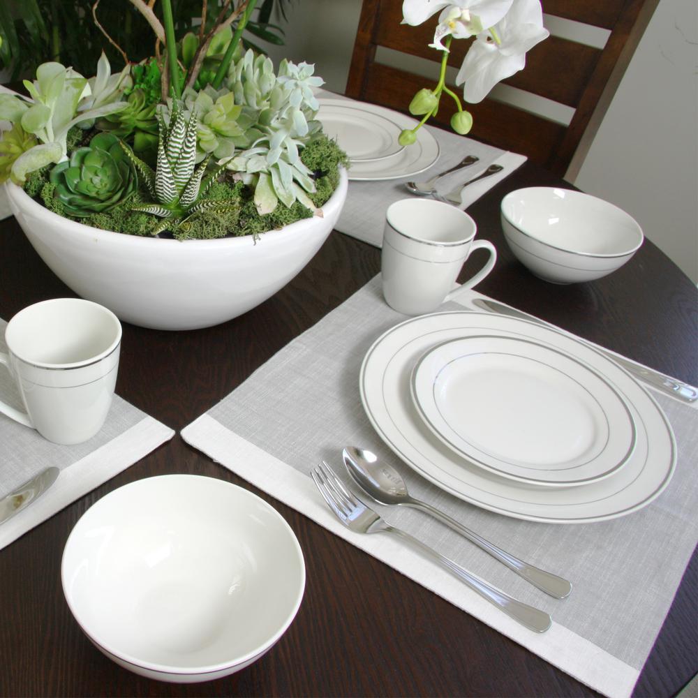 Palladine 16-Piece Contemporary Platinum Border Ceramic Dinnerware Set (Service for 4)