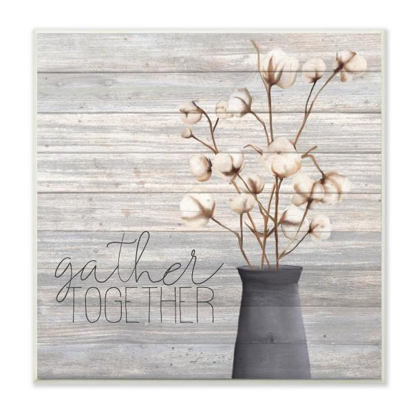 12 in. x 12 in. ''Grey Gather Together Cotton Flowers in Vase'' by Kimberly Allen Wood Wall Art