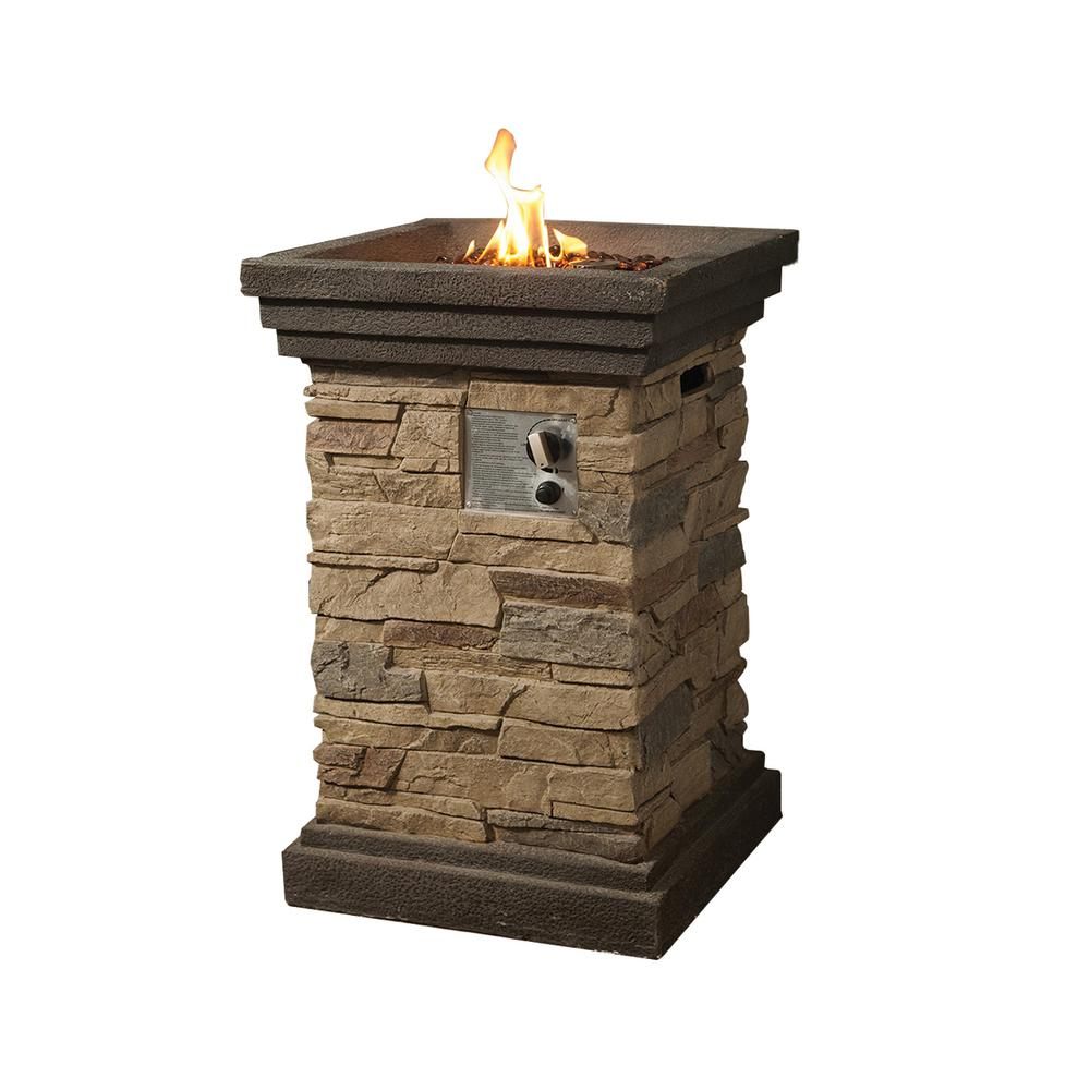 Crawford & Burke Boa Vista 19.7 x 29.1 in Square Stacked Stone with Lava Rocks Propane Fire Pit in Brown.