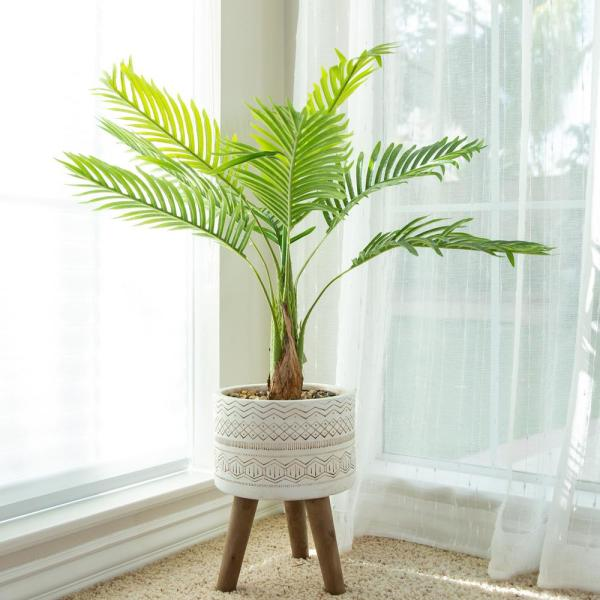 41 in. Artificial Palm Tree in 10 in. Tribal Fiberglass Pot on Stand