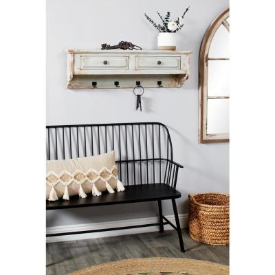 Large Farmhouse Distressed White Wood Floating Shelf with Hooks and Drawers