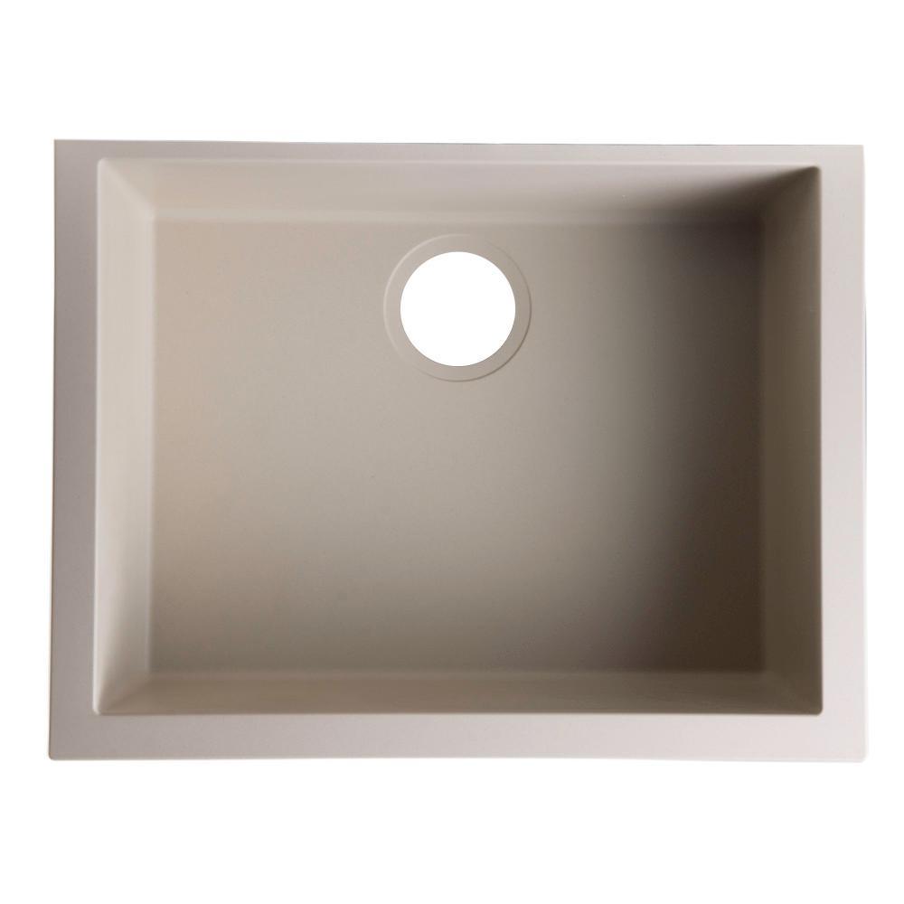 Undermount Granite Composite 23.63 in. Single Bowl Kitchen Sink in Biscuit