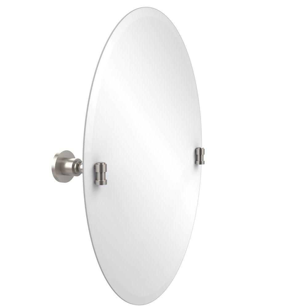 Allied Brass Washington Square Collection 21 in. x 29 in. Frameless Oval Single Tilt Mirror with Beveled Edge in Satin Nickel