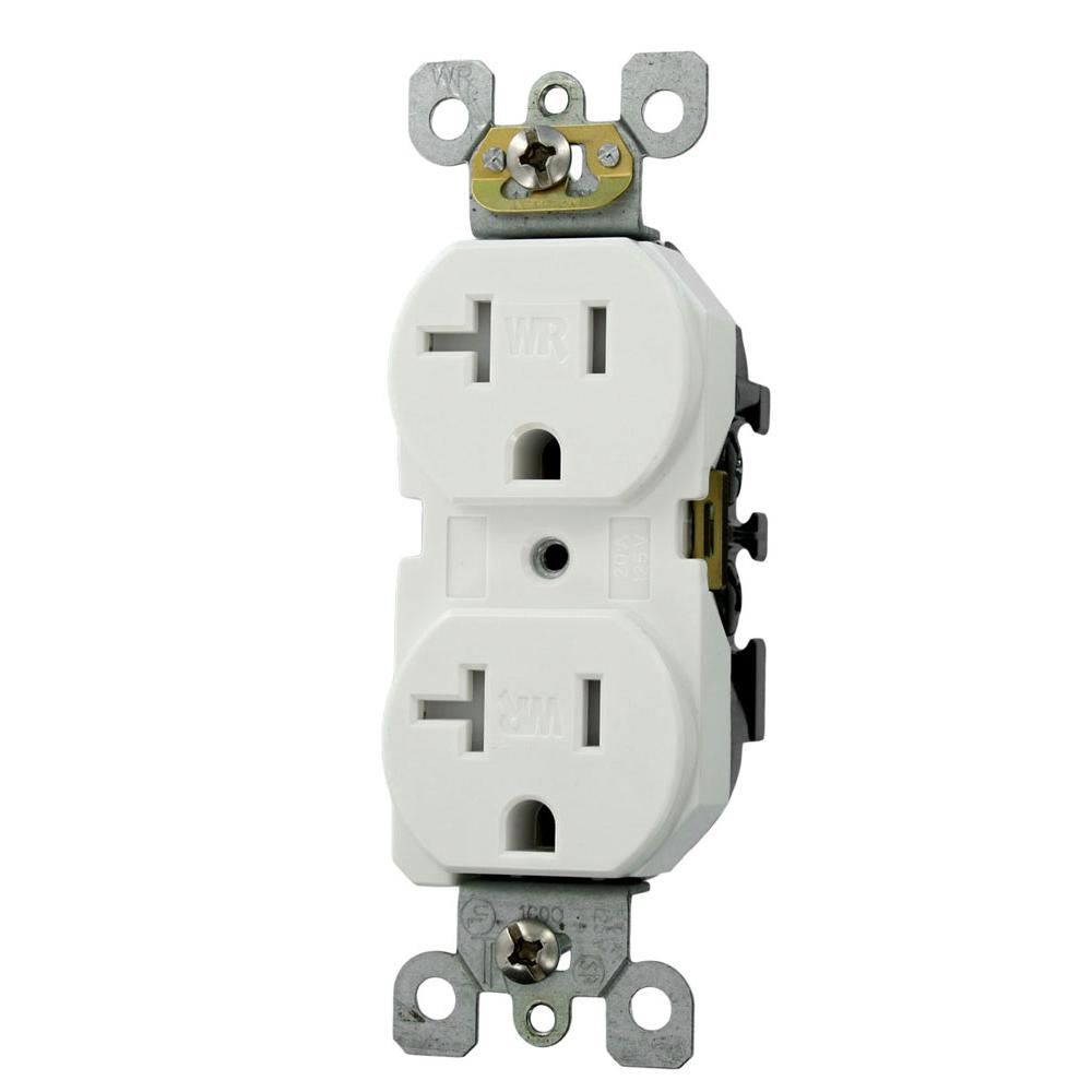 leviton 20 amp residential grade weather and tamper resistant self  grounding duplex outlet, white-w5820-t0w - the home depot  the home depot