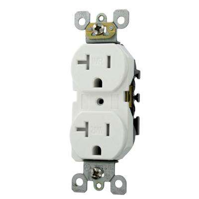 20 Amp Residential Grade Weather and Tamper Resistant Self Grounding Duplex Outlet, White