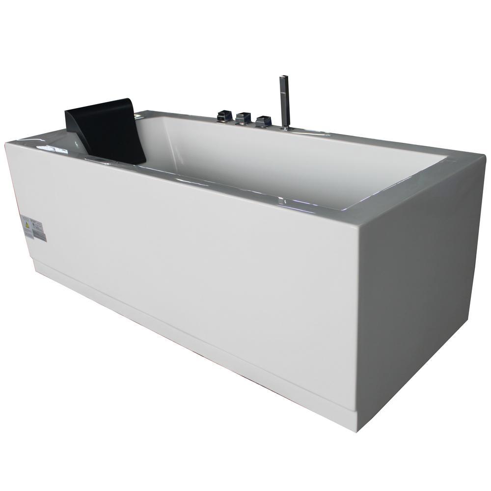 EAGO 60 in. Acrylic Flatbottom Whirlpool Bathtub in White