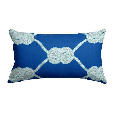 Let's Get Nauti Lumbar Outdoor Throw Pillow in Royal