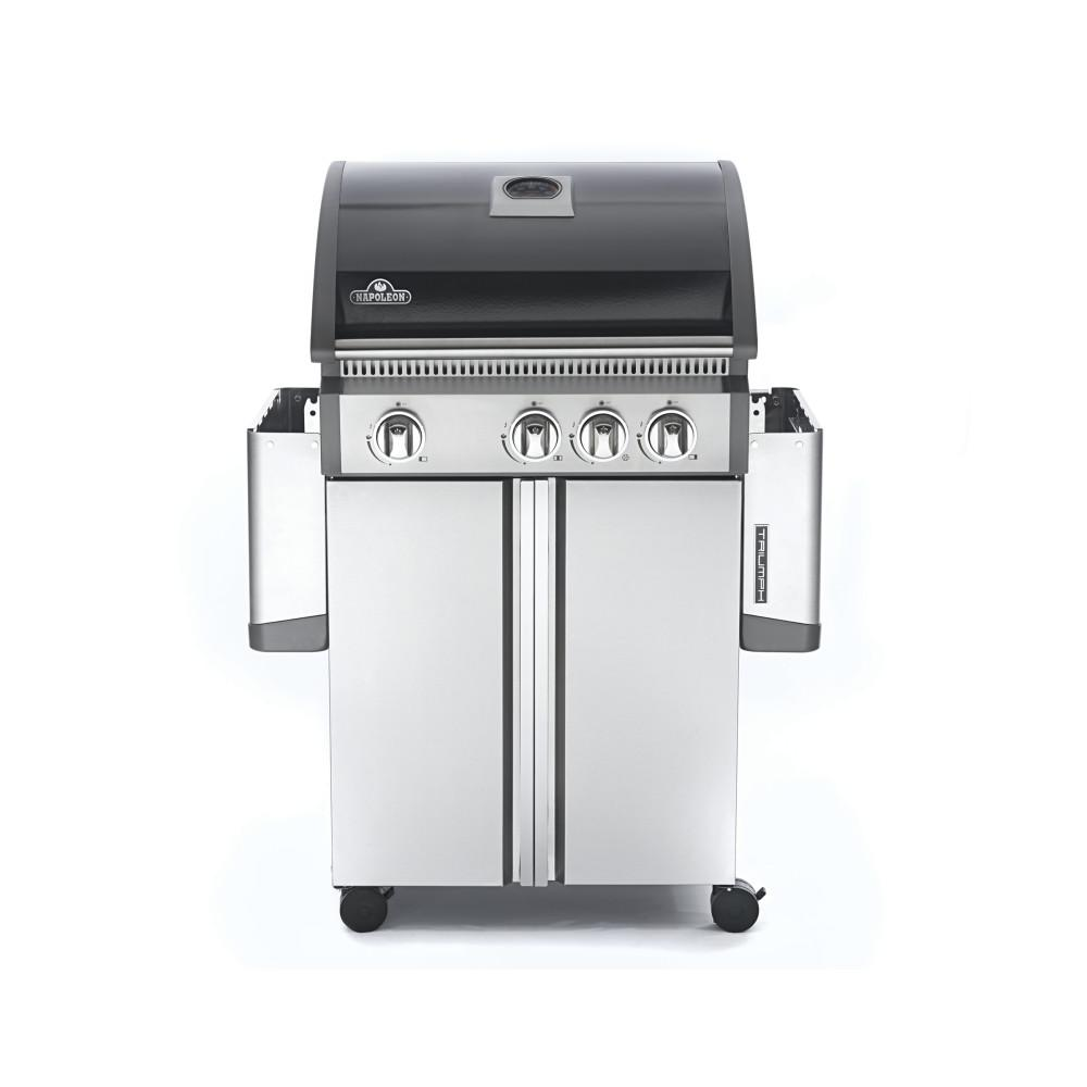 Napoleon Triumph 495 4-Burner Propane Gas Grill in Black and Stainless Steel with Side Burner, Black & Stainless Steel