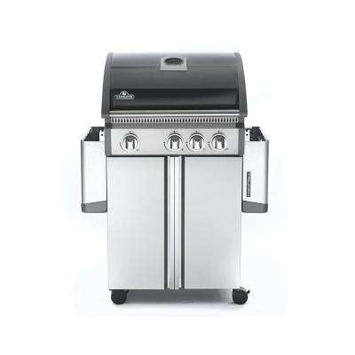 Triumph 495 4-Burner Propane Gas Grill in Black and Stainless Steel with Side Burner