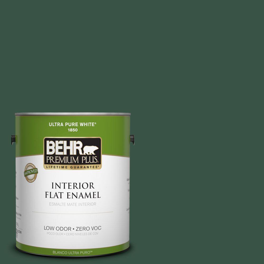 BEHR Premium Plus 1-gal. #470F-7 Deep Jungle Zero VOC Flat Enamel Interior Paint-DISCONTINUED