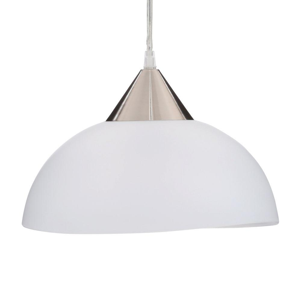 Amris 1-Light 11 in. Plug-In White Hanging Pendant