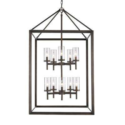 Smyth 10-Light Gunmetal Bronze Pendant with Clear Glass