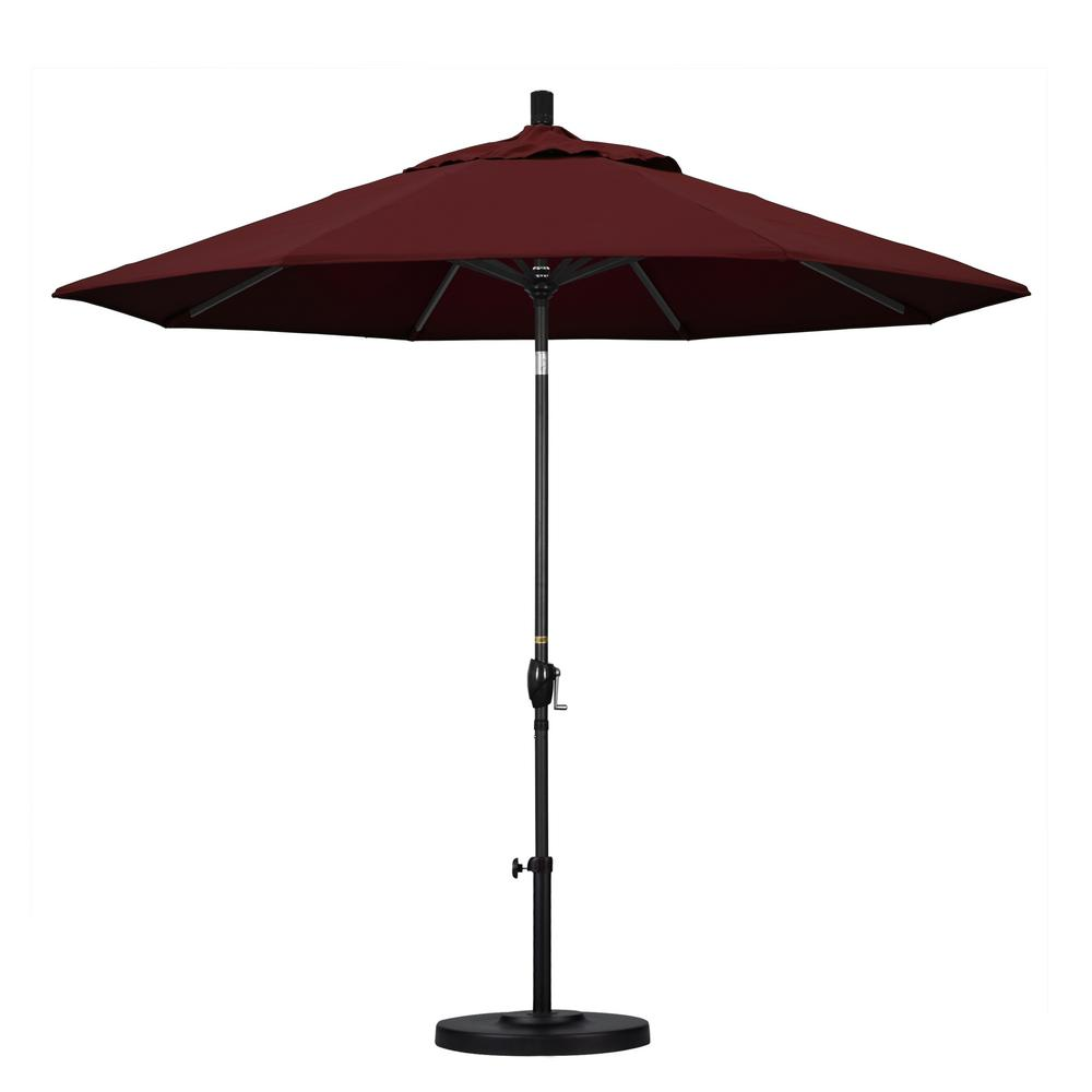 9 ft. Aluminum Push Tilt Patio Umbrella in Burgundy Pacifica